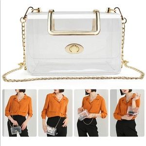 NEW Clutch Clear Purse Crossbody with Golden Chain